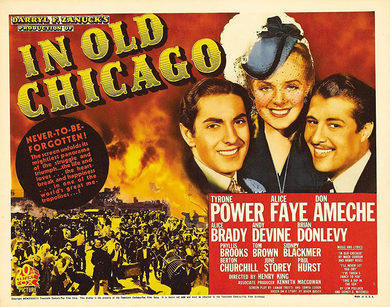 Tyrone Power, Don Ameche, and Alice Faye in In Old Chicago (1938)