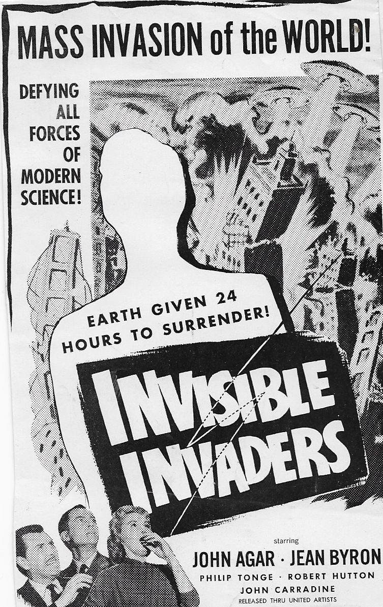 John Agar, Jean Byron, and Robert Hutton in Invisible Invaders (1959)
