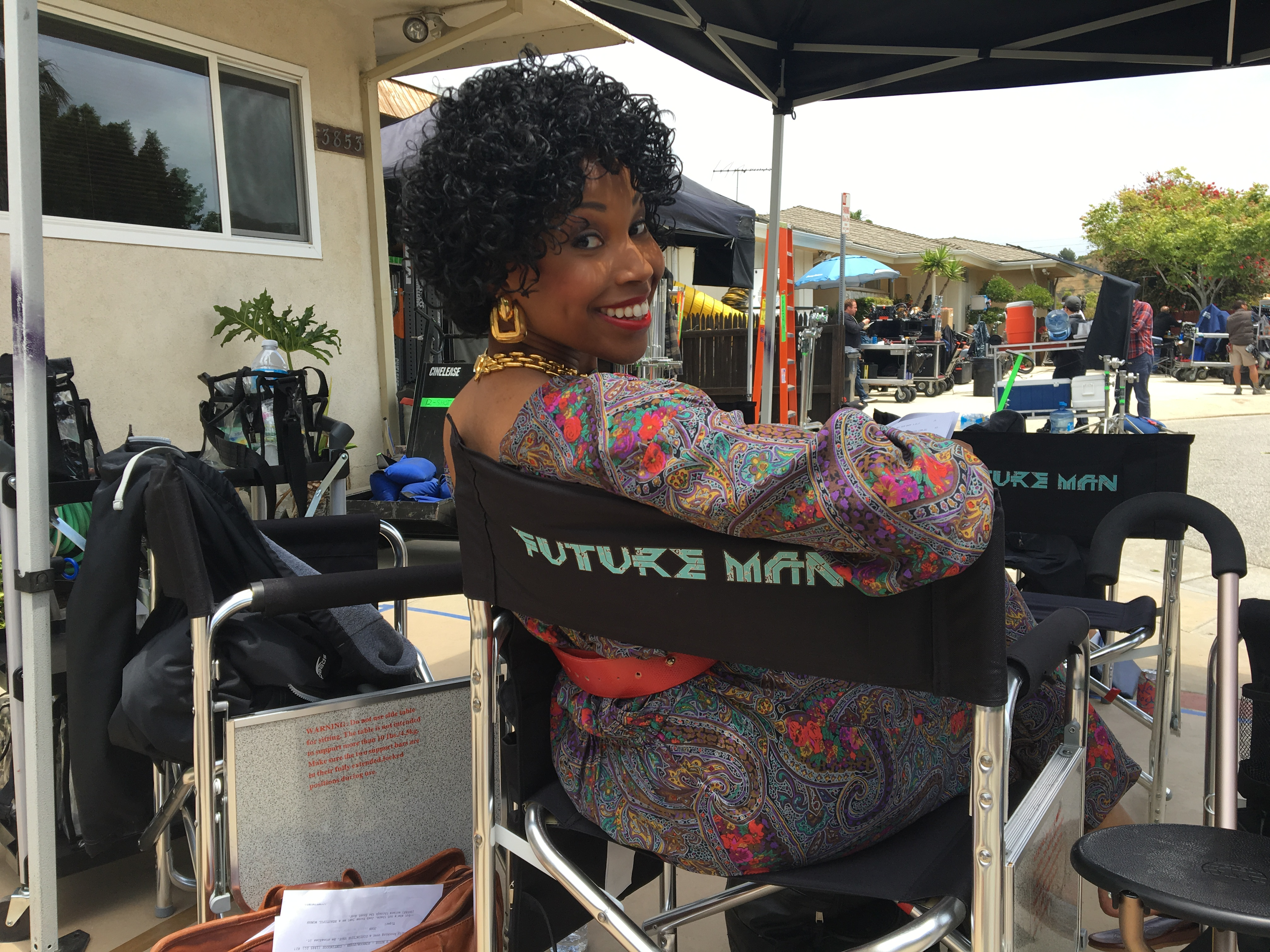 """Cloie Wyatt Taylor As """"Young Marigold"""" on set of Hulu's FUTURE MAN."""