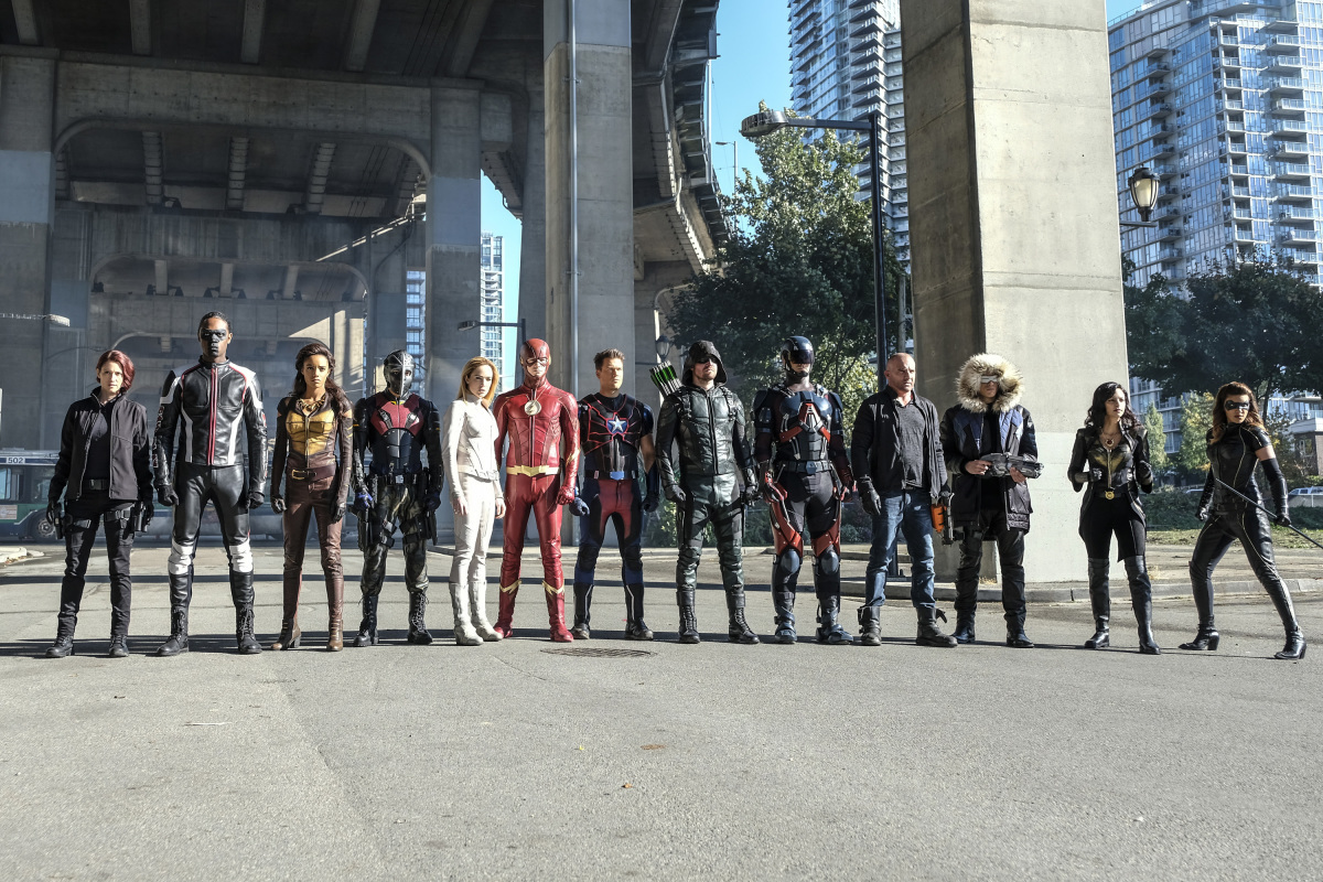 Rick Gonzalez, Chyler Leigh, Wentworth Miller, Dominic Purcell, David Ramsey, Brandon Routh, Nick Zano, Stephen Amell, Caity Lotz, Grant Gustin, Tala Ashe, Juliana Harkavy, Echo Kellum, and Maisie Richardson-Sellers in Legends of Tomorrow (2016)