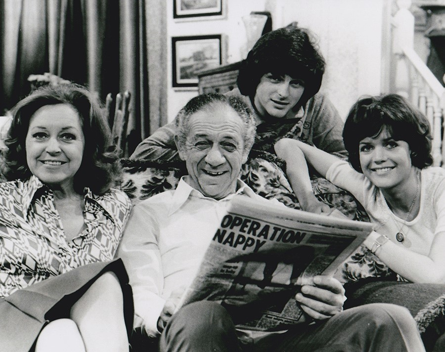 Diana Coupland, Sally Geeson, Sidney James, and Robin Stewart in Bless This House (1971)