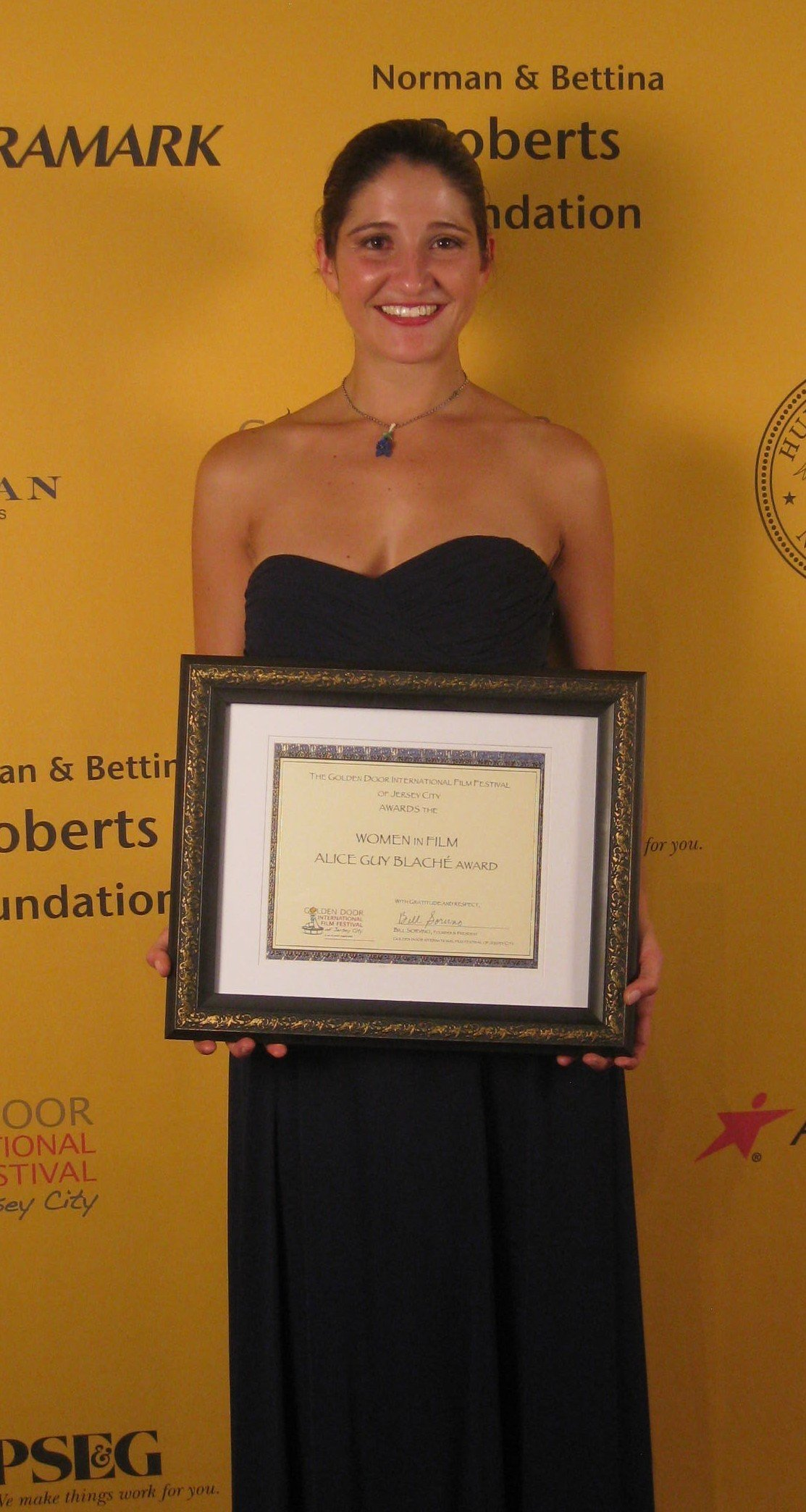 Director Laura Thies received the Alice Guy Blache Female Filmmaker Award at the 2012 Golden Door International Film Festival.