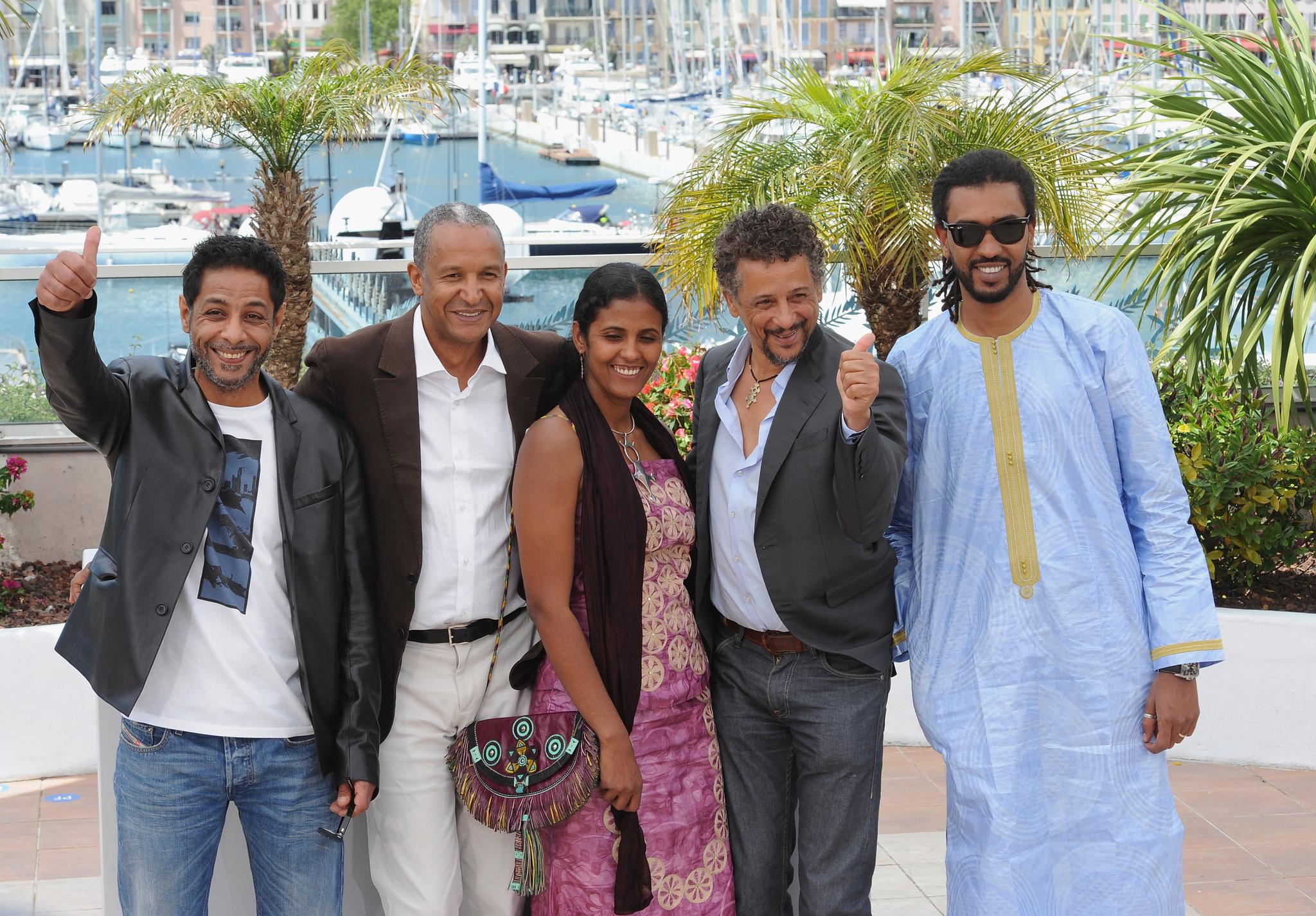 Abel Jafri, Abderrahmane Sissako, Ibrahim Ahmed, Hichem Yacoubi, and Toulou Kiki at an event for Timbuktu (2014)