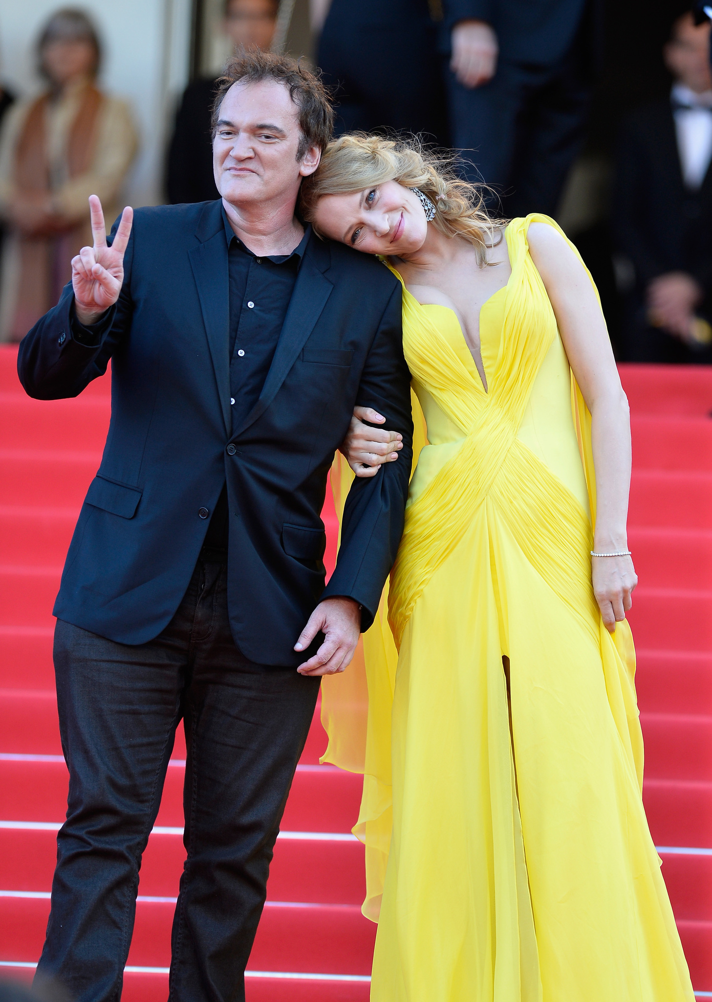 """Quentin Tarantino and Uma Thurman attend the """"Clouds Of Sils Maria"""" premiere during the 67th Annual Cannes Film Festival on May 23, 2014 in Cannes, France."""