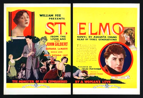 Warner Baxter, John Gilbert, Barbara La Marr, and Bessie Love in St. Elmo (1923)