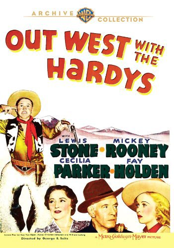 Mickey Rooney, Fay Holden, Cecilia Parker, and Lewis Stone in Out West with the Hardys (1938)