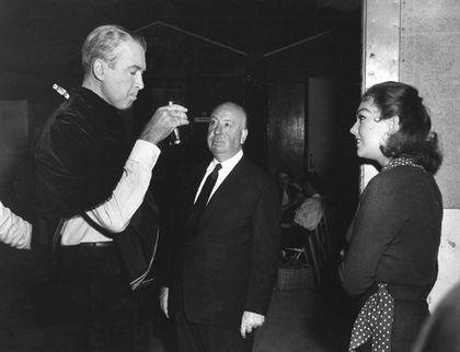 """Vertigo"" James Stewart, Alfred Hitchcock, Kim Novak 1958 Paramount"