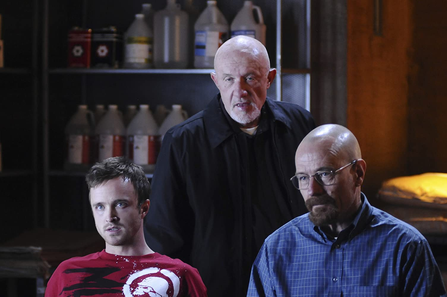 Jonathan Banks, Bryan Cranston, and Aaron Paul in Breaking Bad (2008)