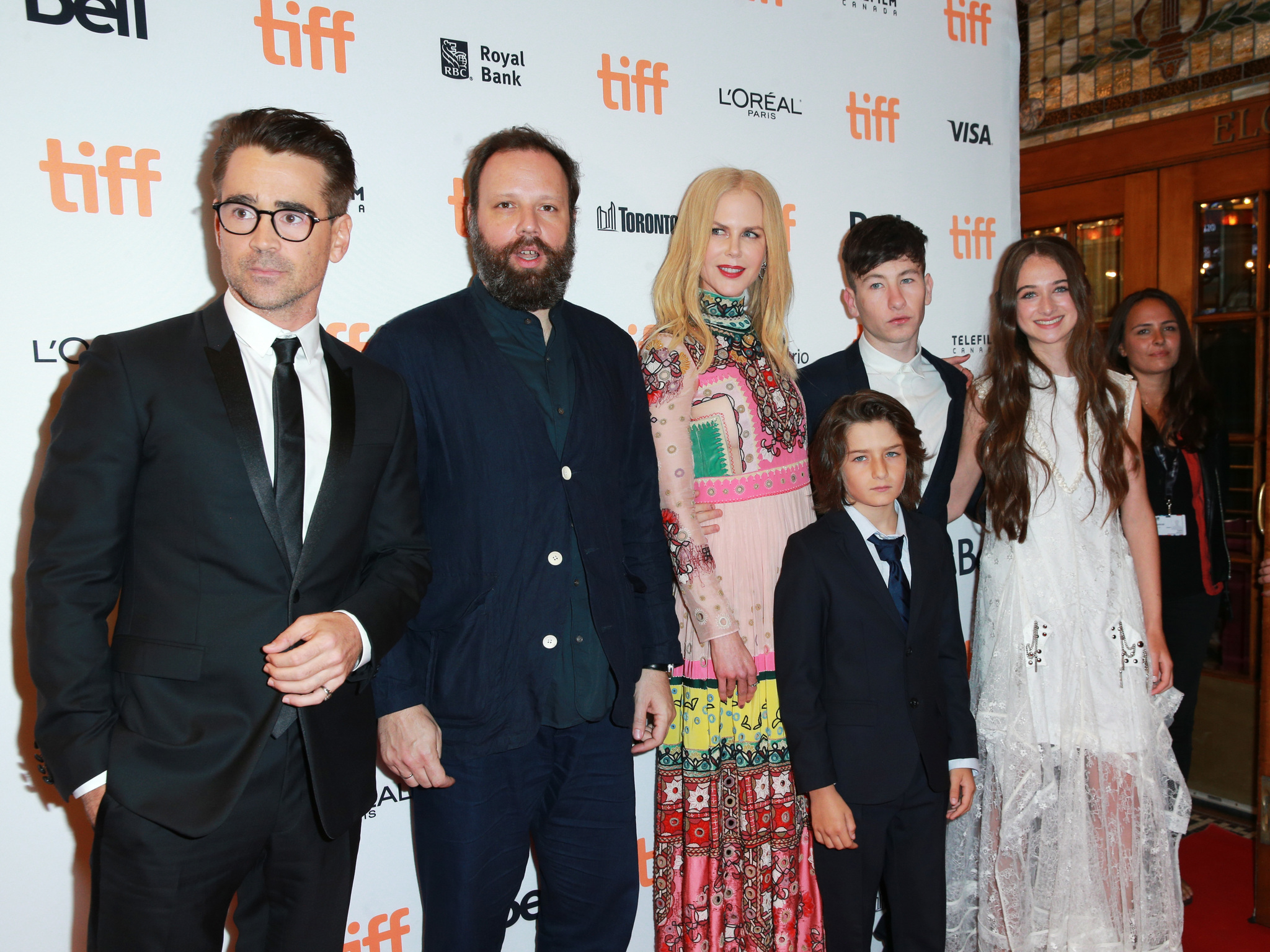 Nicole Kidman, Colin Farrell, Yorgos Lanthimos, Raffey Cassidy, Barry Keoghan, and Sunny Suljic at an event for The Killing of a Sacred Deer (2017)