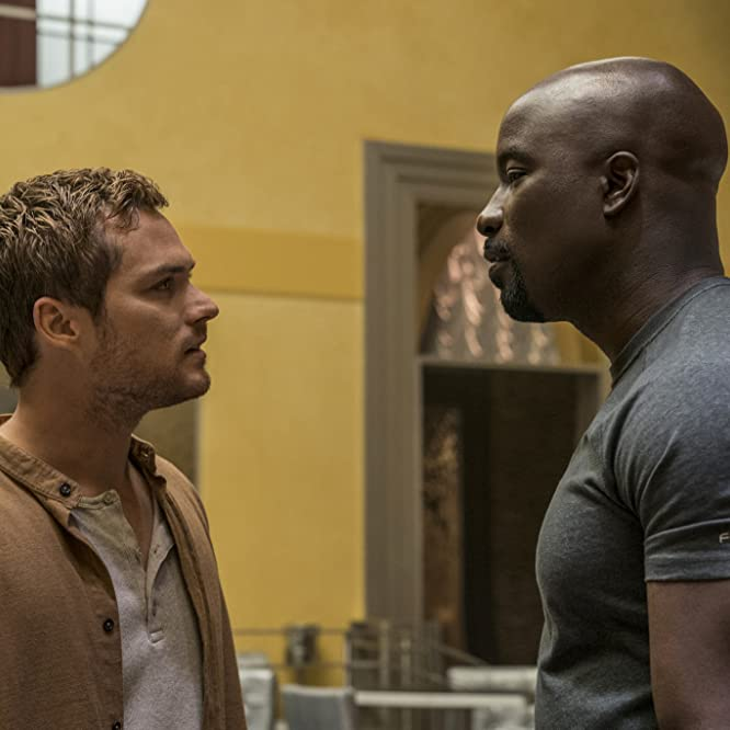 Mike Colter and Finn Jones in Luke Cage (2016)