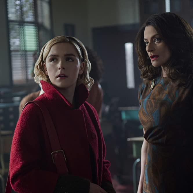 Michelle Gomez and Kiernan Shipka in Chilling Adventures of Sabrina (2018)