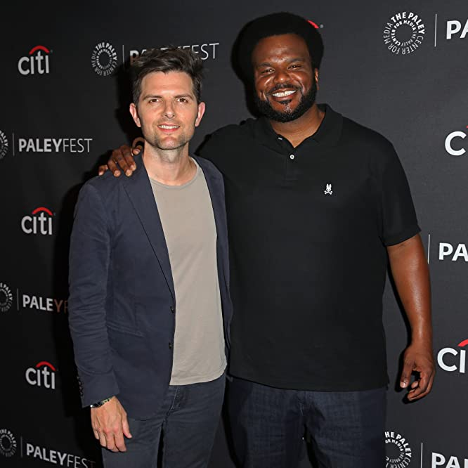 Adam Scott and Craig Robinson at an event for Ghosted (2017)