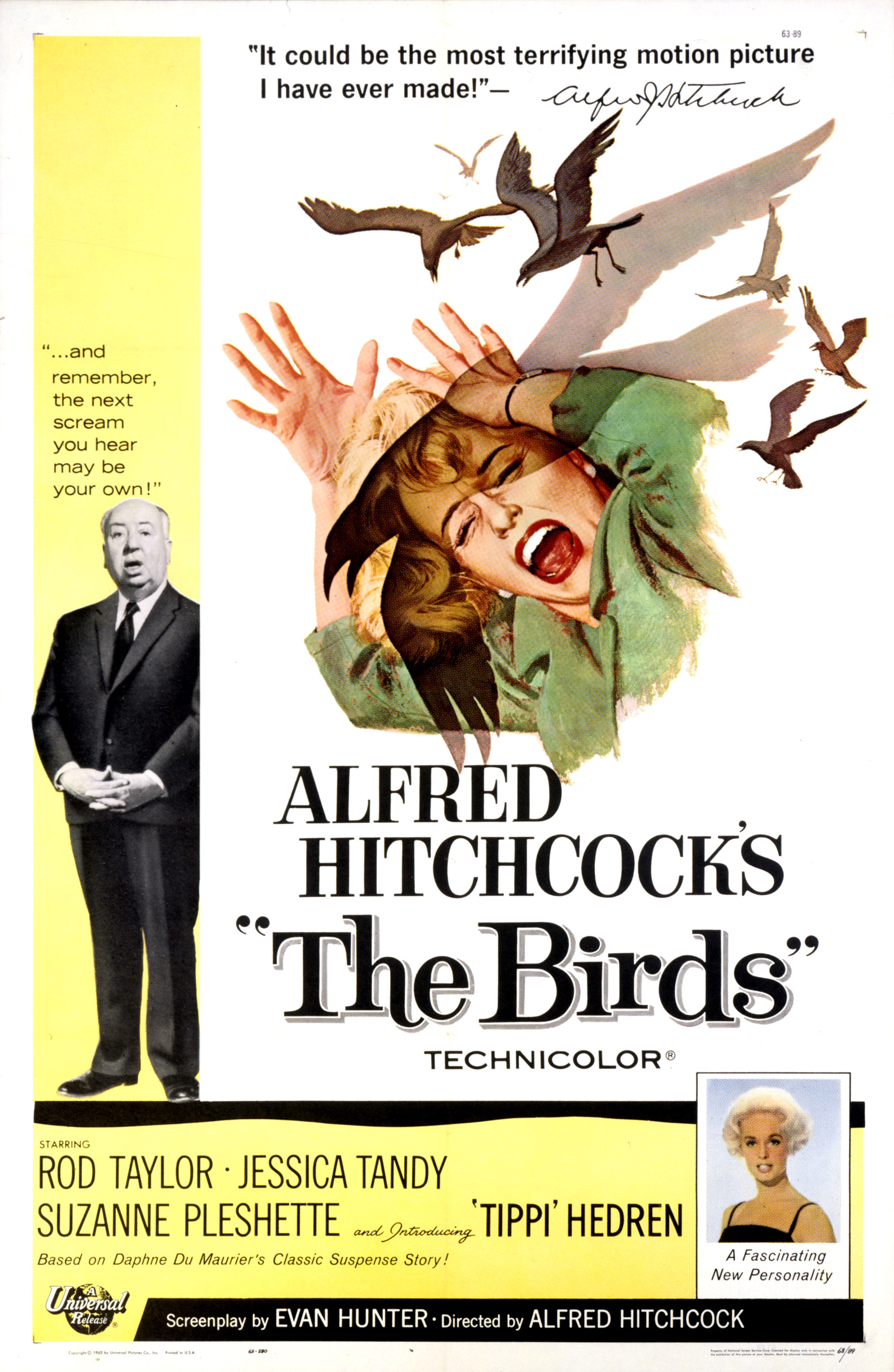 Alfred Hitchcock and Tippi Hedren in The Birds (1963)