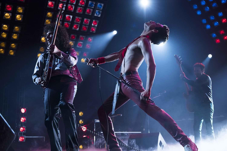 Joseph Mazzello, Rami Malek, and Gwilym Lee in Bohemian Rhapsody (2018)