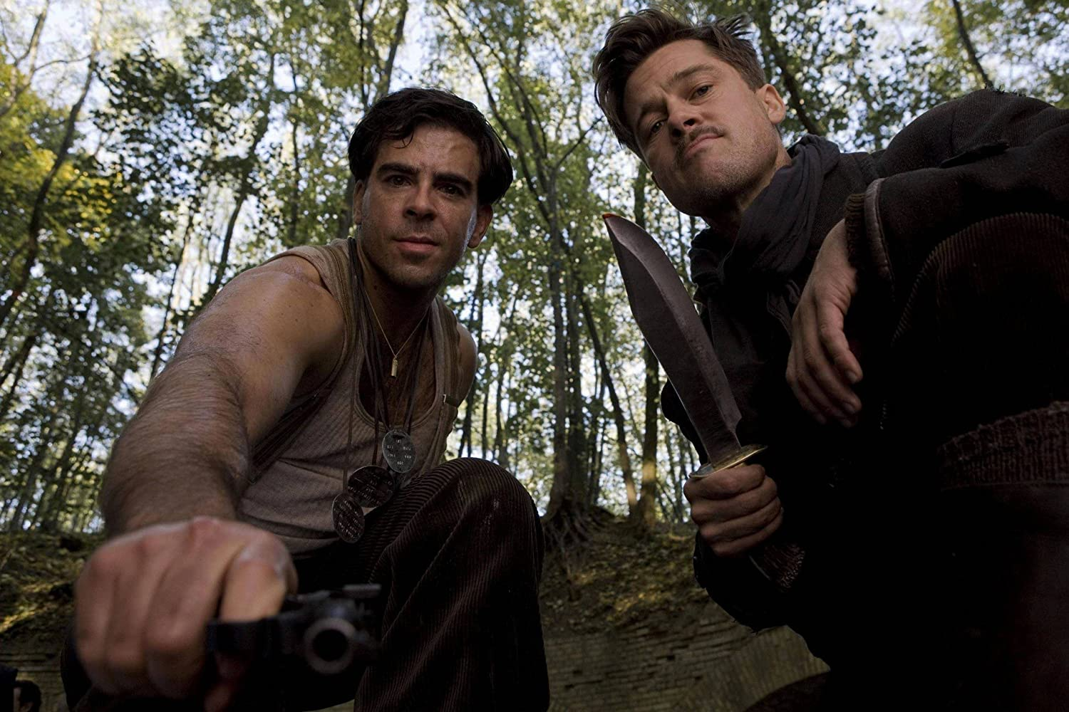 Brad Pitt and Eli Roth in Inglourious Basterds (2009)