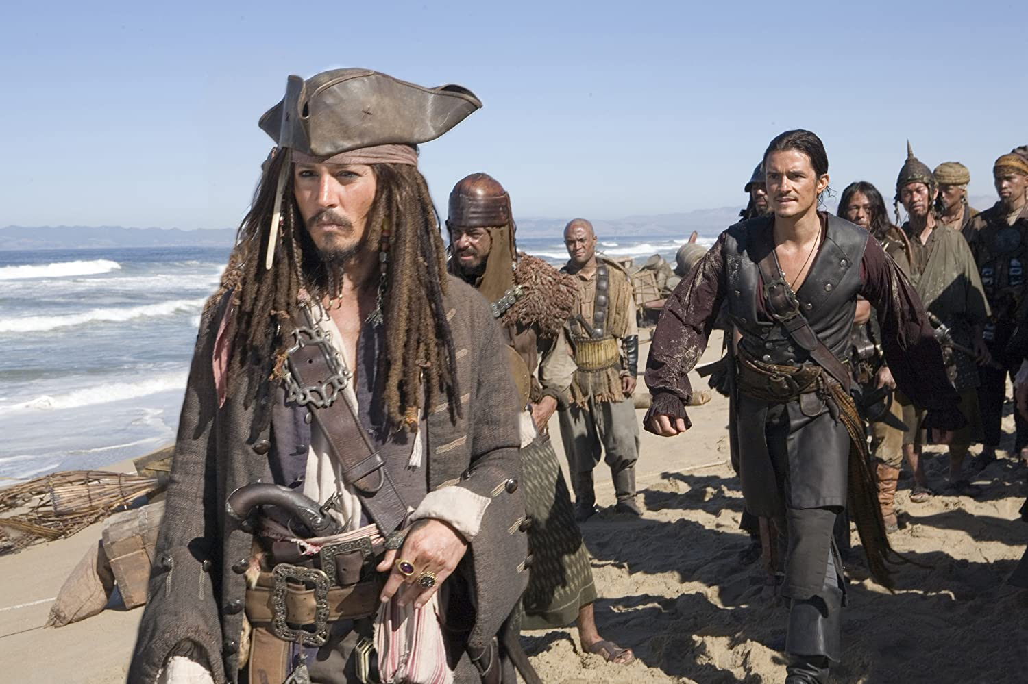 Johnny Depp and Orlando Bloom in Pirates of the Caribbean: At World's End (2007)