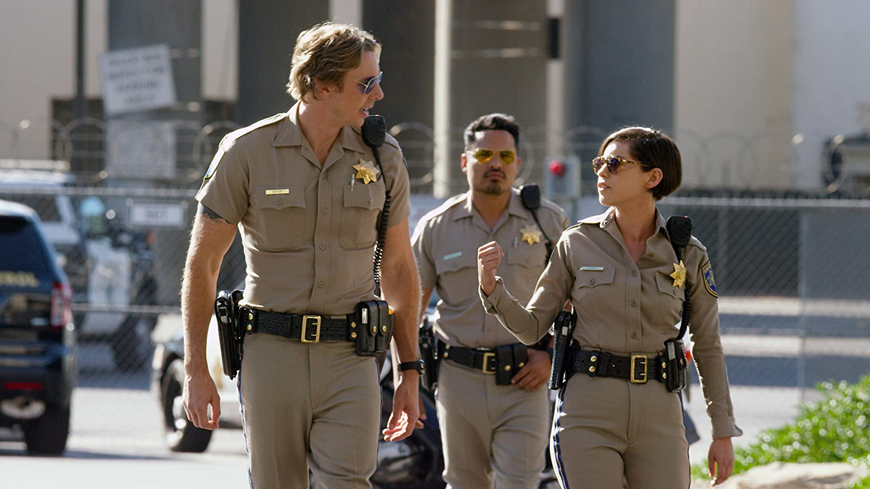 Michael Peña, Dax Shepard, and Rosa Salazar in CHIPS (2017)