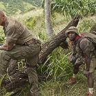 Kevin Hart, Dwayne Johnson, and Nick Jonas in Jumanji: Welcome to the Jungle (2017)