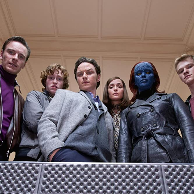 Rose Byrne, James McAvoy, Michael Fassbender, Lucas Till, Jennifer Lawrence, and Caleb Landry Jones in X-Men: First Class (2011)