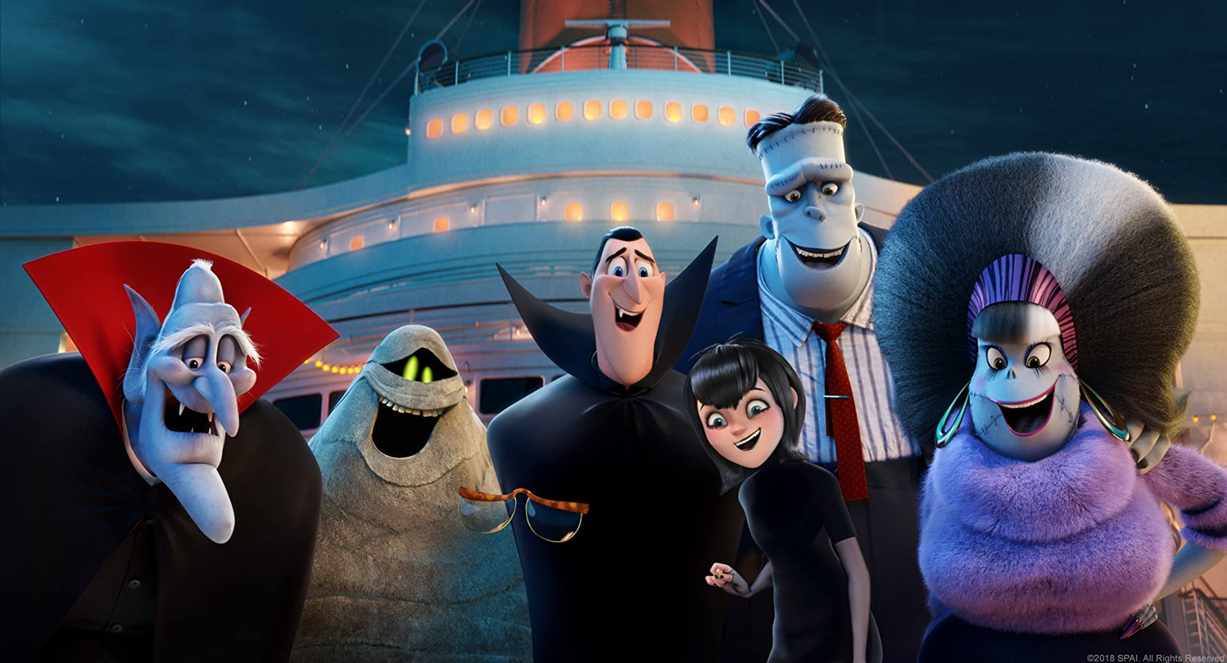 Mel Brooks, Fran Drescher, Adam Sandler, David Spade, Kevin James, Keegan-Michael Key, and Selena Gomez in Hotel Transylvania 3: Summer Vacation (2018)