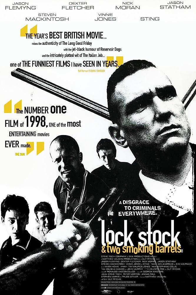 Jason Flemyng, Dexter Fletcher, Vinnie Jones, Jason Statham, and Nick Moran in Lock, Stock and Two Smoking Barrels (1998)
