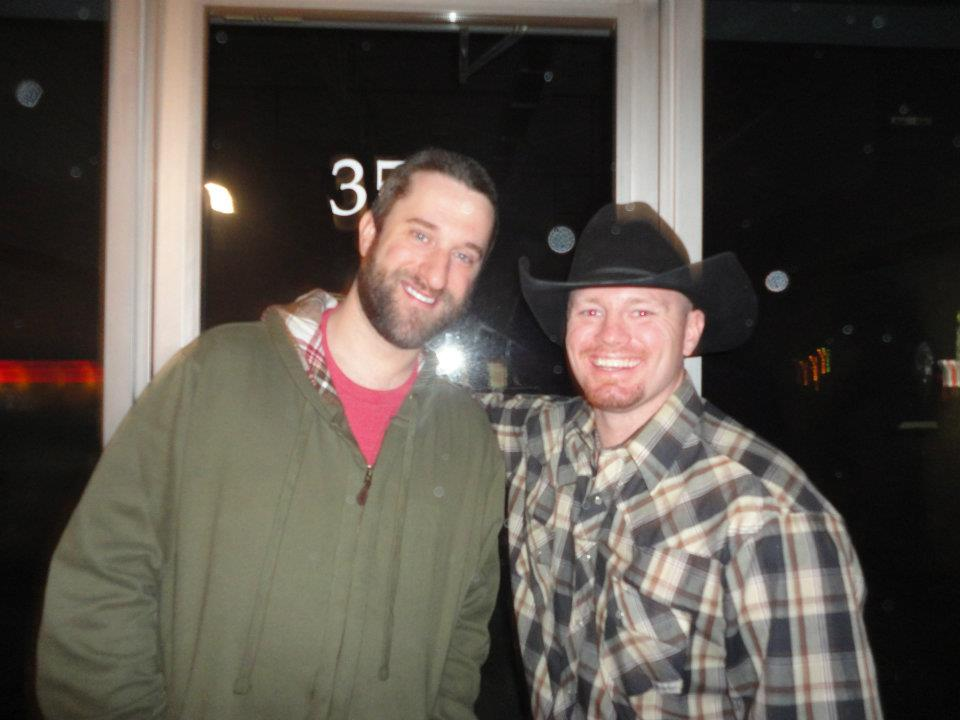 """Joshua Ray Bell and Dustin Diamond on the set of """"A Dog for Christmas"""""""