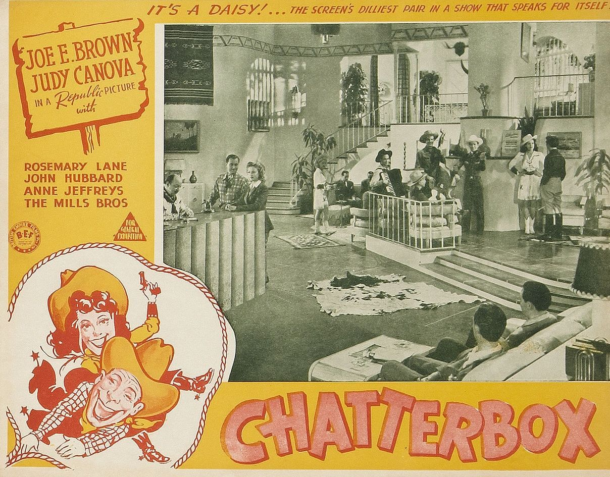 Dorothy Andre, Spade Cooley, Pedro I. De Paul, John Hubbard, Mary Kenyon, Rosemary Lane, Lloyd Perryman, Pat Starling, and Tex Williams in Chatterbox (1943)