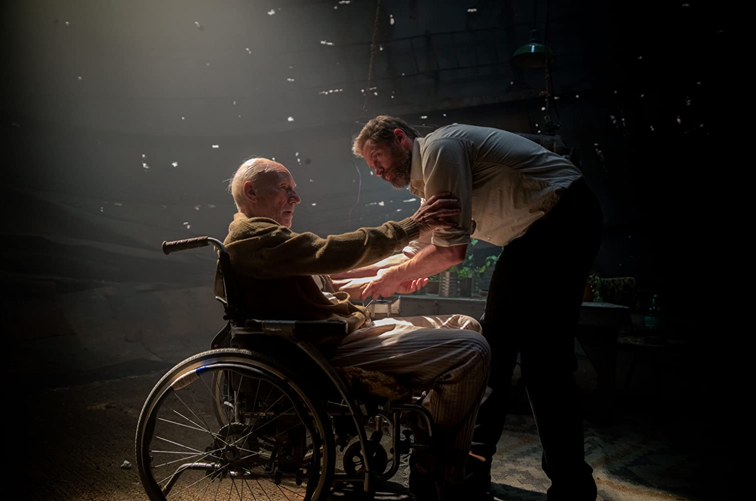 Patrick Stewart and Hugh Jackman in Logan (2017)