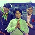 Dev Anand, Mehmood Jr., and Rajendranath Malhotra in Haré Rama Haré Krishna (1971)