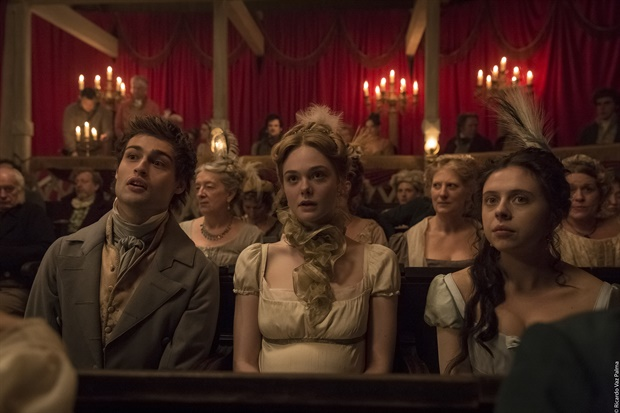 Elle Fanning, Bel Powley, and Douglas Booth in Mary Shelley (2017)