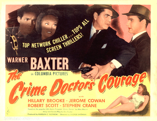 Warner Baxter, Hillary Brooke, Mark Roberts, and Lupita Tovar in The Crime Doctor's Courage (1945)