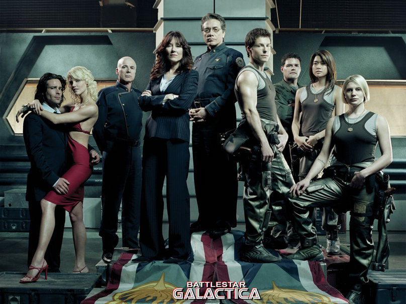 Mary McDonnell, Edward James Olmos, Jamie Bamber, James Callis, Aaron Douglas, Michael Hogan, Grace Park, Katee Sackhoff, and Tricia Helfer in Battlestar Galactica (2004)