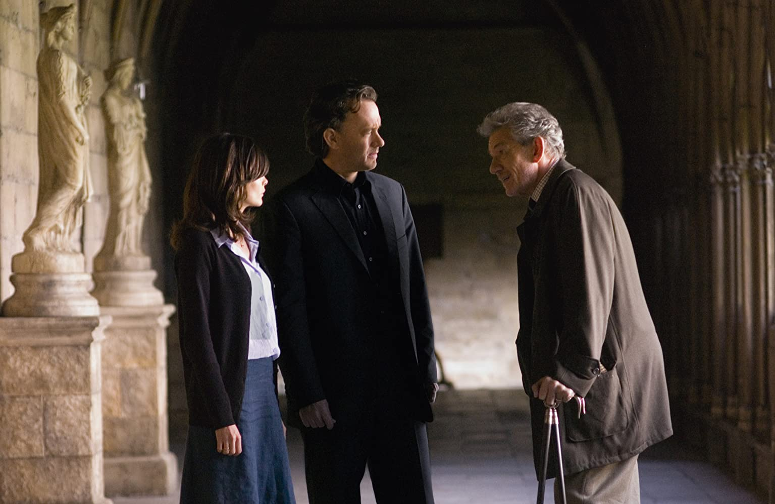 Tom Hanks, Ian McKellen, and Audrey Tautou in The Da Vinci Code (2006)