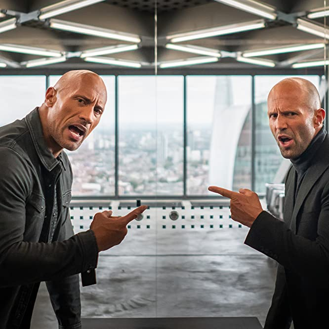 Jason Statham and Dwayne Johnson in Fast & Furious Presents: Hobbs & Shaw (2019)