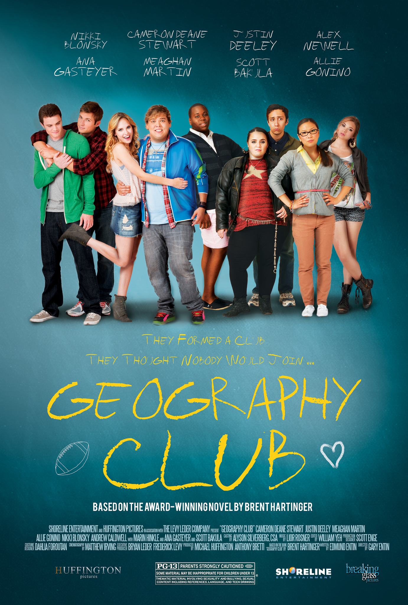 Justin Deeley, Ally Maki, Teo Olivares, Andrew Lewis Caldwell, Nikki Blonsky, Allie Gonino, Meaghan Martin, Cameron Deane Stewart, and Alex Newell in Geography Club (2013)