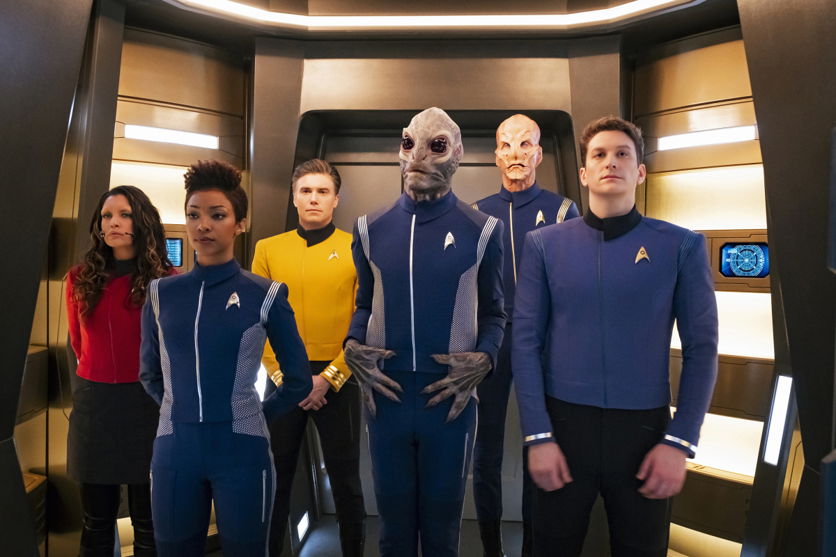 Doug Jones, Anson Mount, David Benjamin Tomlinson, Rachael Ancheril, Sonequa Martin-Green, and Sean Connolly Affleck in Star Trek: Discovery (2017)