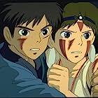 Claire Danes, Billy Crudup, Yuriko Ishida, and Yôji Matsuda in Mononoke-hime (1997)
