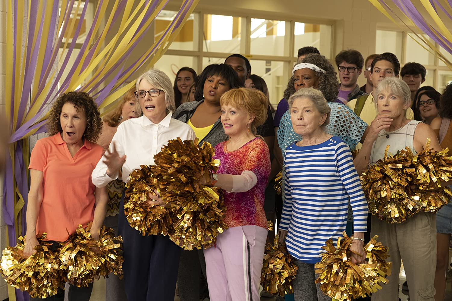 Pam Grier, Diane Keaton, Patricia French, Rhea Perlman, Phyllis Somerville, Carol Sutton, Jacki Weaver, and Ginny MacColl in Poms (2019)