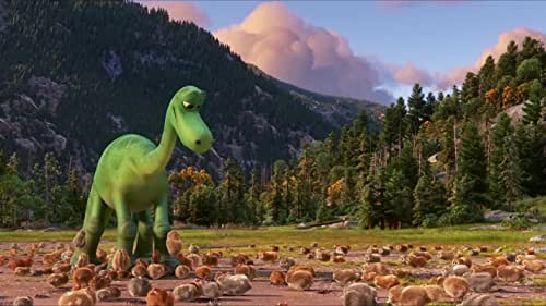 """""""The Good Dinosaur"""" asks the question: What if the asteroid that forever changed life on Earth missed the planet completely and giant dinosaurs never became extinct? In this epic journey into the world of dinosaurs, an Apatosaurus named Arlo makes an unlikely human friend. While traveling through a harsh and mysterious landscape, Arlo learns the power of confronting his fears and discovers what he is truly capable of."""