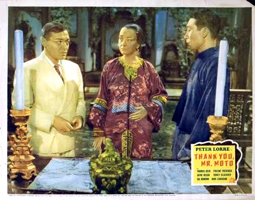 Peter Lorre, Philip Ahn, and Pauline Frederick in Thank You, Mr. Moto (1937)