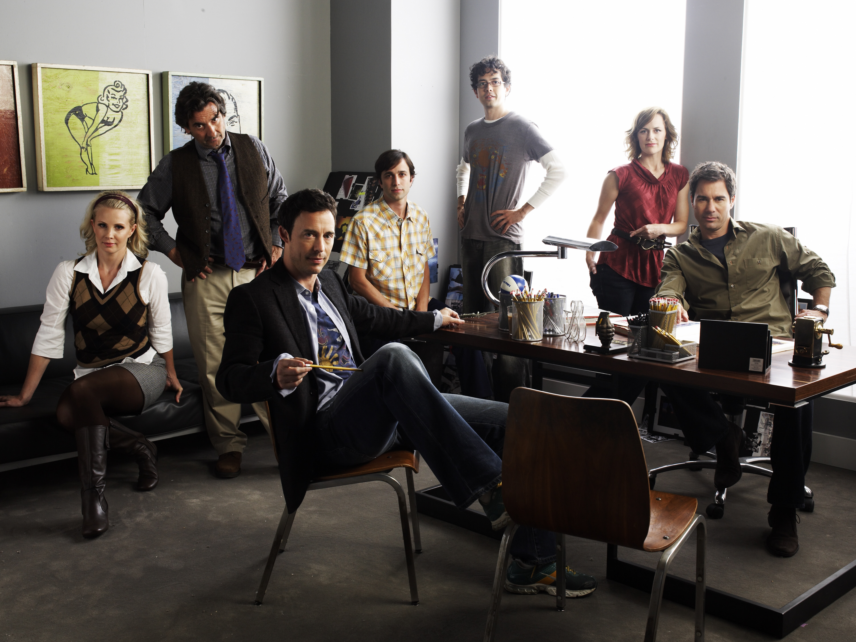 Griffin Dunne, Eric McCormack, Monica Potter, Geoffrey Arend, Tom Cavanagh, Mike Damus, and Sarah Clarke in Trust Me (2009)