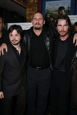 Christian Bale, David Ayer, and Freddy Rodríguez at an event for Harsh Times (2005)