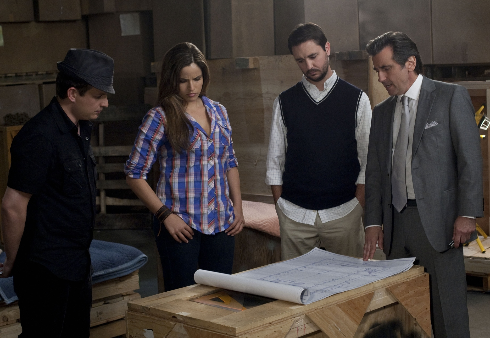 Wil Wheaton, Griffin Dunne, Noa Tishby, and Apollo Robbins in Leverage (2008)