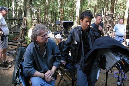 "Director David Winning with Joe Flanigan (Maj. John Sheppard) on the set of the Stargate: Atlantis episode ""Childhood's End""."