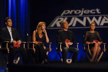 Heidi Klum, Apolo Ohno, Nina Garcia, and Michael Kors in Project Runway (2004)