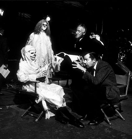 "William Castle, director, and Vincent Price on the set of ""Ghoulie, 13 Ghosts,"" 1960."
