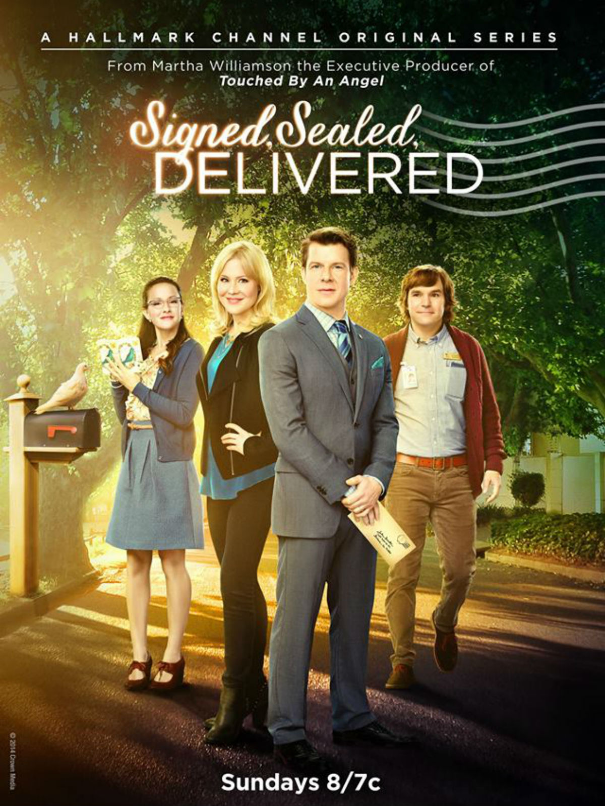 Kristin Booth, Yan-Kay Crystal Lowe, Eric Mabius, and Geoff Gustafson in Signed, Sealed, Delivered (2014)