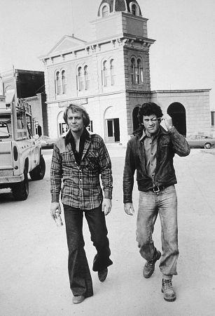 """""""Starsky and Hutch"""" David Soul & Paul Michael Glaser at Warner Bros. set"""