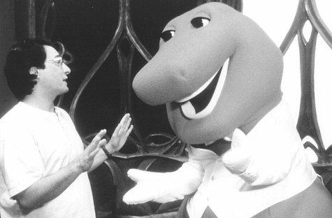Steve Gomer, David Joyner, and Barney the Dinosaur in Barney's Great Adventure (1998)