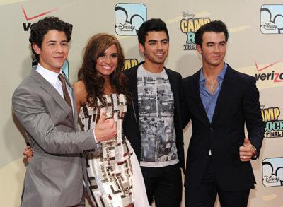 Demi Lovato, Kevin Jonas, Joe Jonas, and Nick Jonas at an event for Camp Rock 2: The Final Jam (2010)